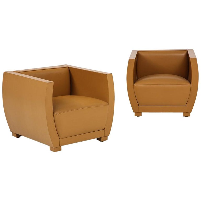 Pair of Camel Colored Leather Clad Club Chairs For Sale