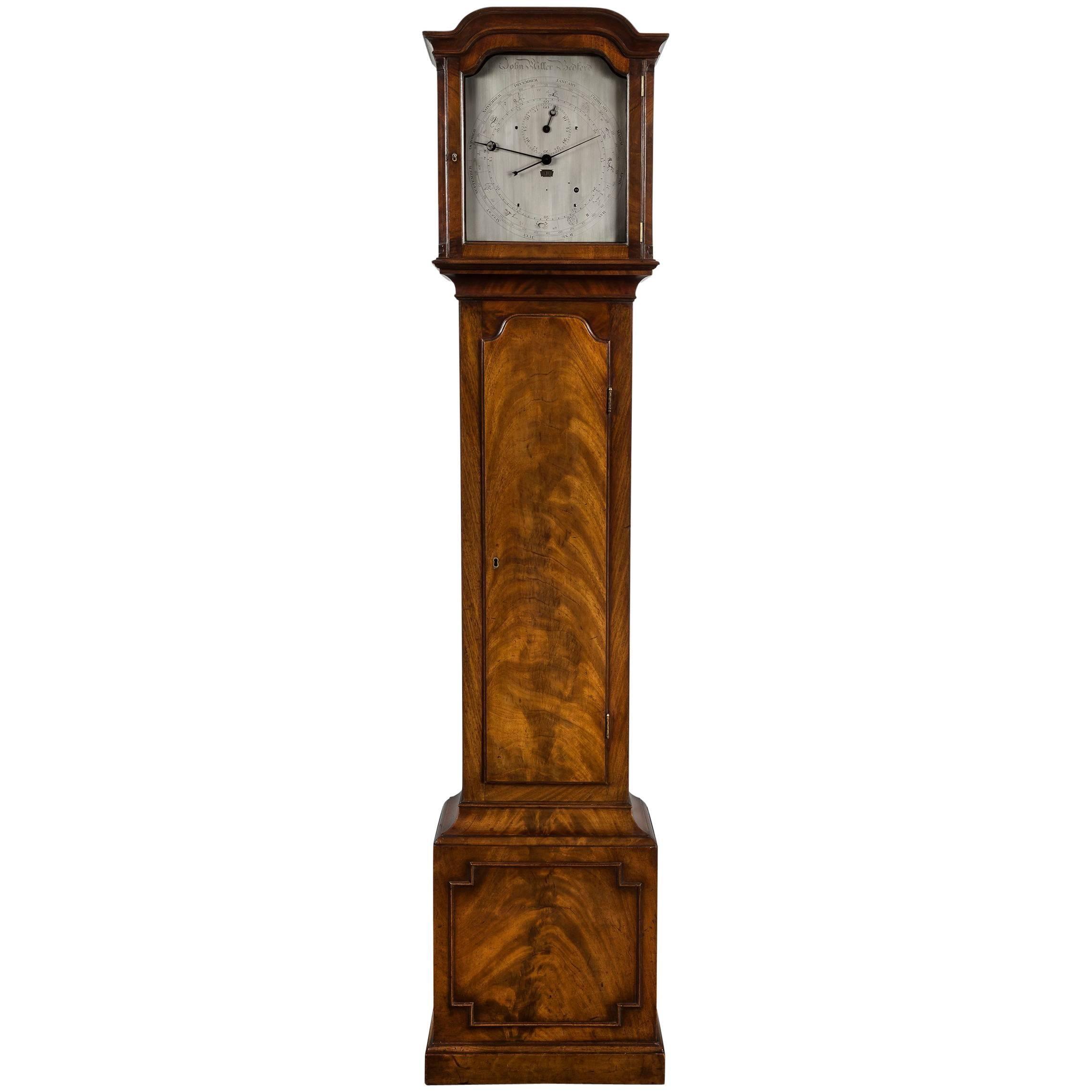 antique regency year calendar mahogany regulator longcase by john miller - Grandfather Clocks
