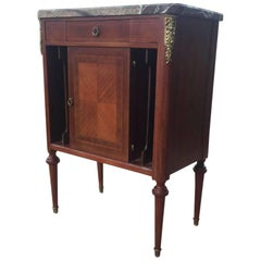 Elegant Louis XVI Style Mahogany Side Table or Nightstand with Marble Top
