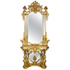 French Empire Revival 19th Century Giltwood Carved Figural Console and Mirror