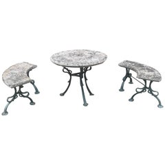 French Art Nouveau Iron and Stone Garden Set