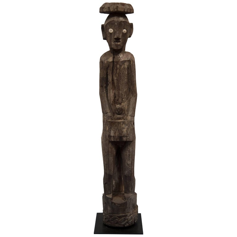 Carved Wooden Figure of Maile with Child