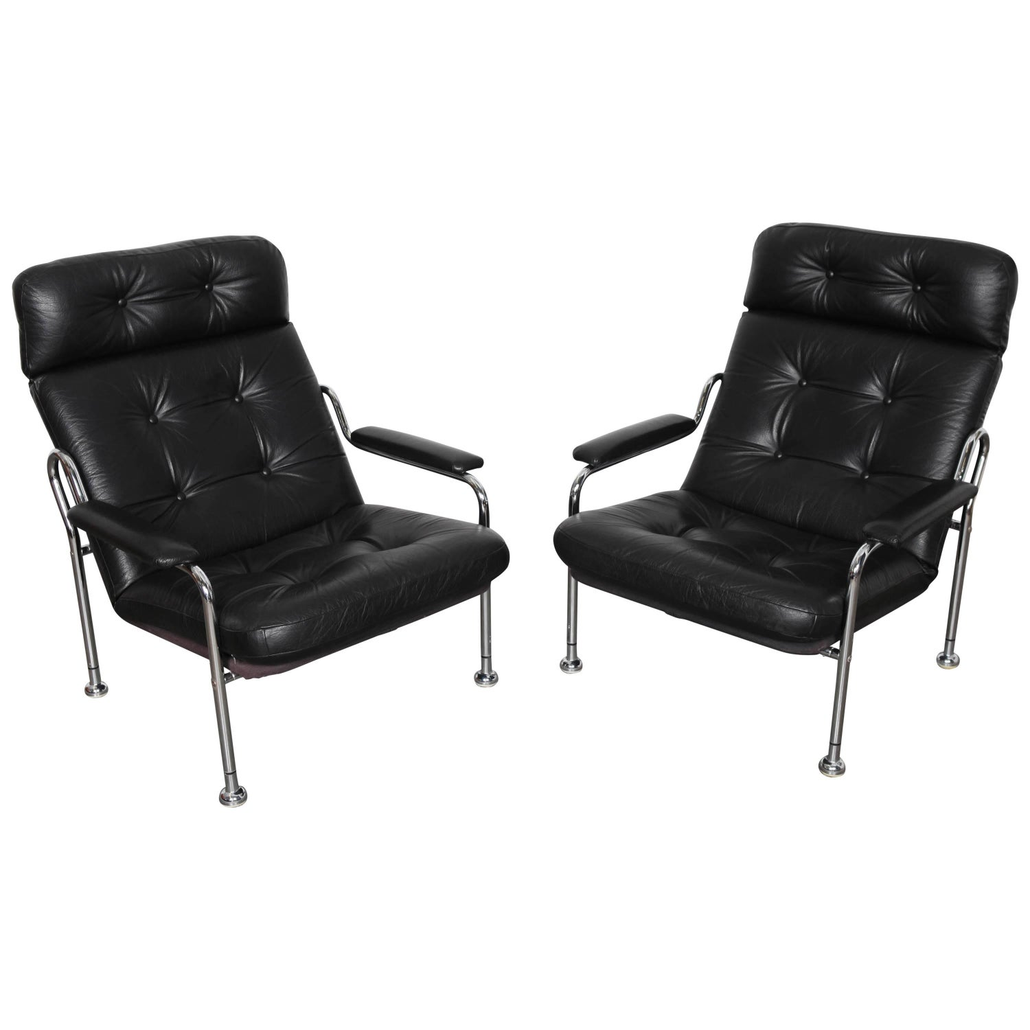 Peruvian Black Tooled Leather Folding Chairs Pair circa 1950 at