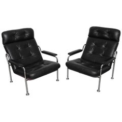 Pair of Swedish Black Leather Tufted Lounge Chairs