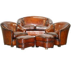 Fully Restored Brown Leather Five-Piece Club Tub Suite Armchairs & Sofa Feathers