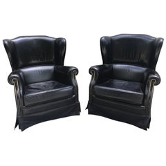 Pair of Black French Leather Wing Chairs