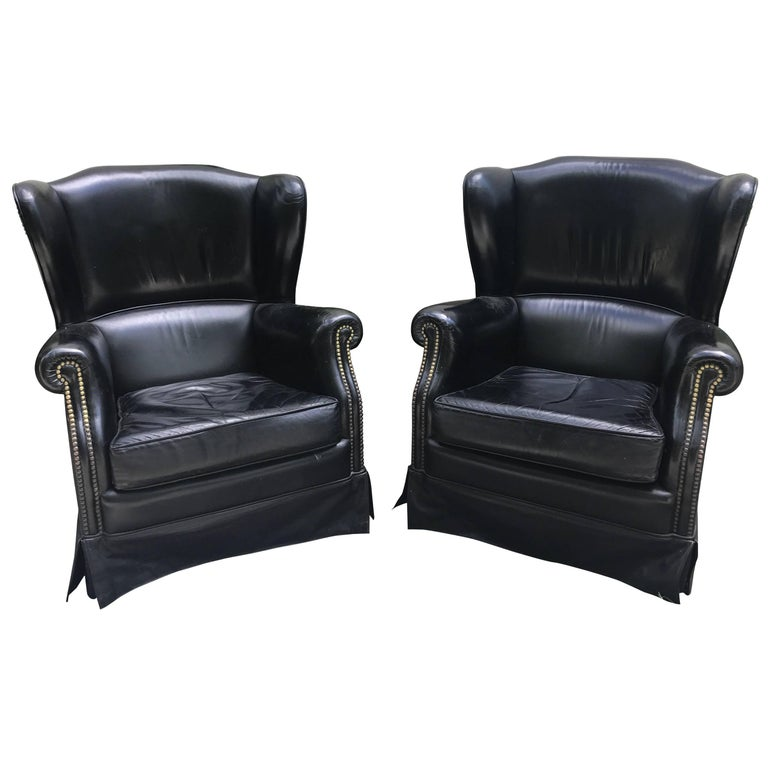 Pair of Black French Leather Wing Chairs 1