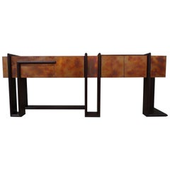Contemporary Sequenza Bar Cabinet Credenza Sideboard in Wegne With Copper Patina