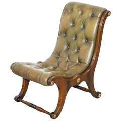 Rare Framed Regency Style Chesterfield Green Leather Slipper Nursing Armchair