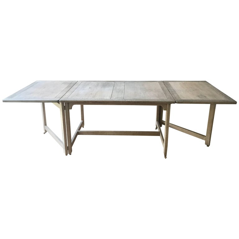 Swedish Bleached Oak Dining Table For Sale