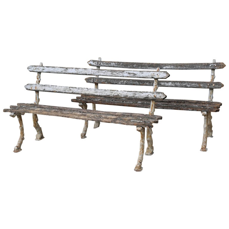 Pair of Antique Garden Benches For Sale