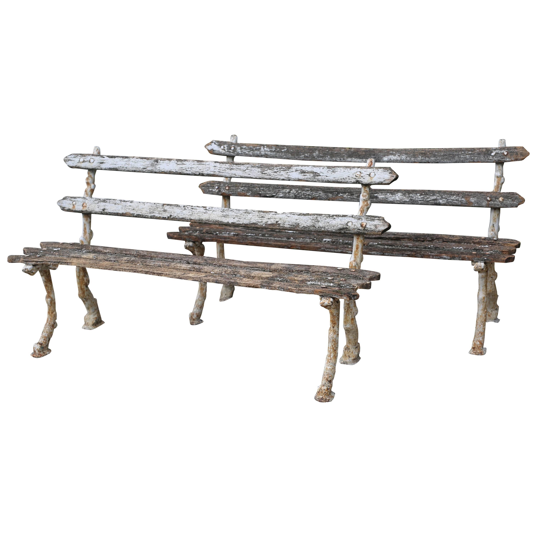 Pair Of Antique Garden Benches 1