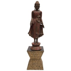 TIBETAN STANDING BUDDA FIGURE - Bronze with Gilt Jewelled Inlaid Base