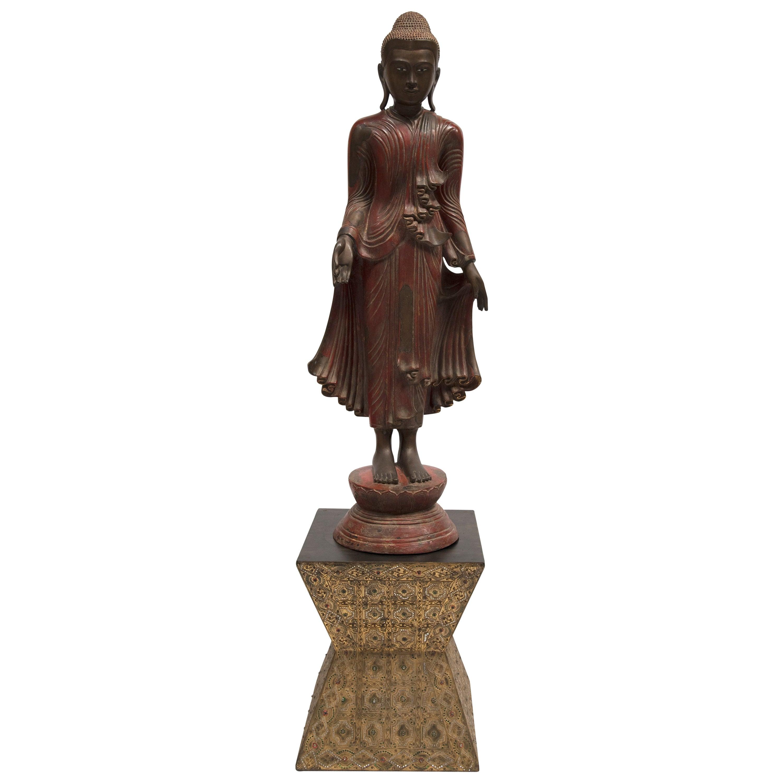 TIBETAN STANDING BUDDA FIGURE - Bronze with Gilt Jewelled Inlaid Base