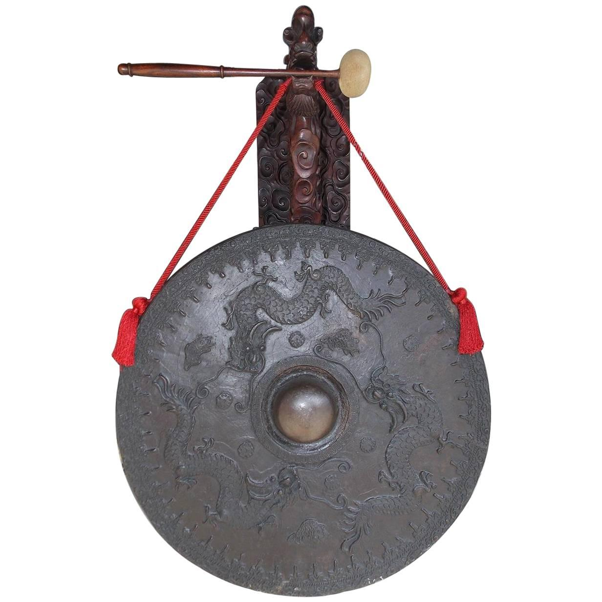 Chinese King Wood and Bronze Wall-Mounted Temple Gong, 19th Century