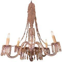 English Cut Crystal Cascading Water Fall Four-Arm Chandelier, Circa 1870