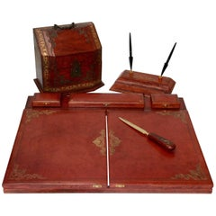 Vintage Red Italian Leather Desk Accessories