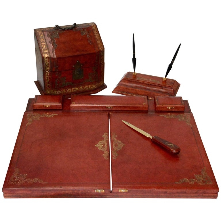 Vintage Red Italian Leather Desk Accessories For