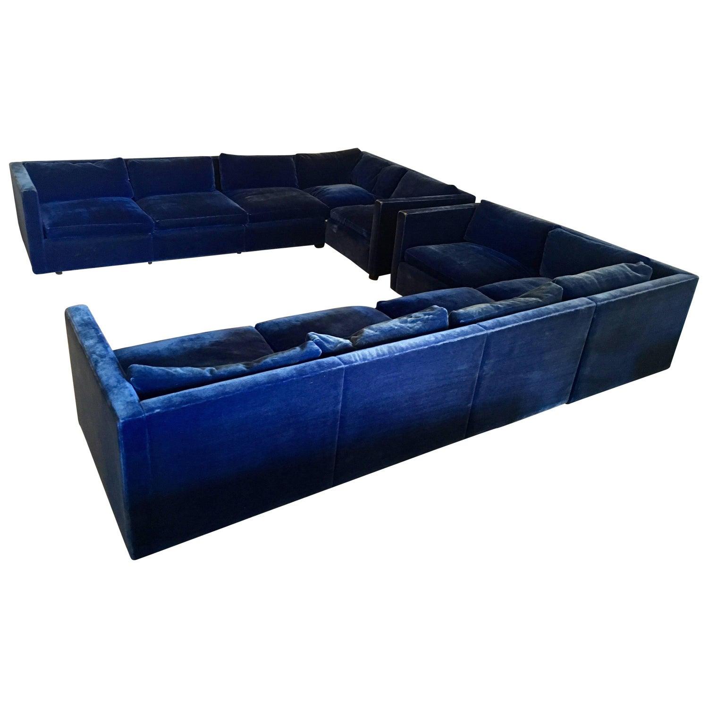 "Flexform ""Victor"" Sectional L Shape Sofa in Navy Blue Velvet at"