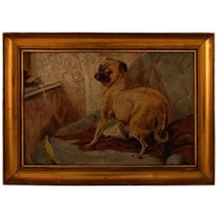Early 20th Century, Unknown English Painter Dog and Bird in Interior