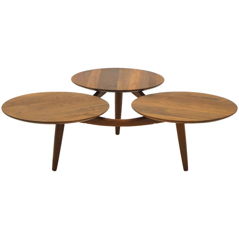 danish modern teak coffee table three round surfaces unique design at 1stdibs. Black Bedroom Furniture Sets. Home Design Ideas