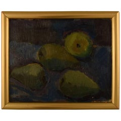 Modernist Still Life with Pears, Mid-20th Century Oil on Canvas