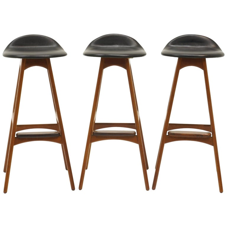 Three Erik Buch Bar Stools Teak, Rosewood, and Black Leather