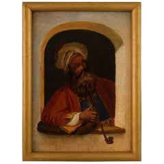 Painter Unknown, 19th Century, Pipe-Smoking Turk with Turban