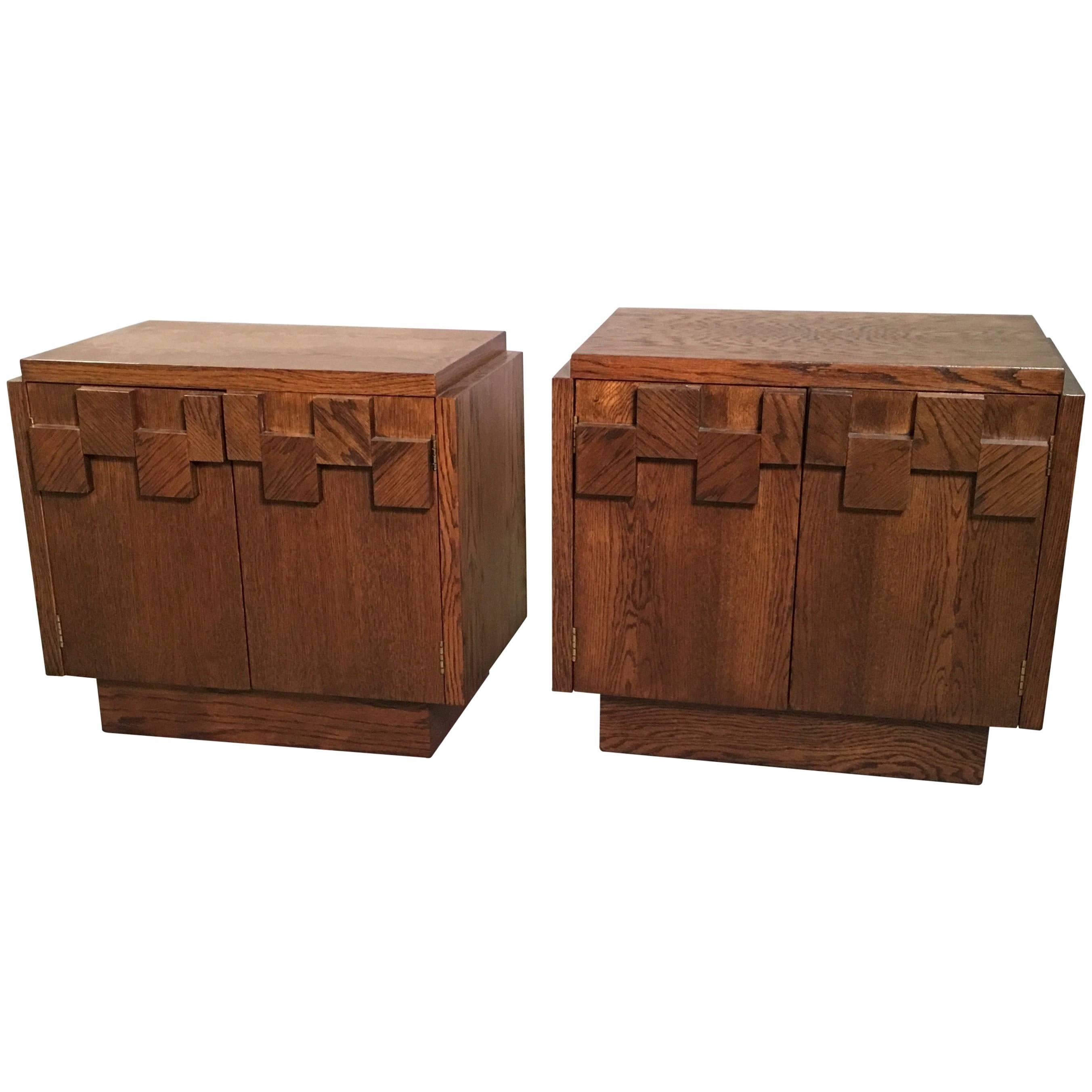 Brutalist Mosaic Oak End Table Nightstands by Lane Altavista