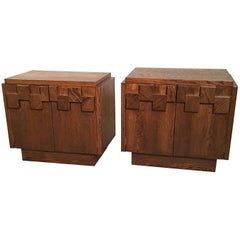 Brutalist Mosaic Walnut End Table Nightstands by Lane Altavista