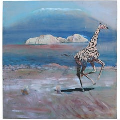 Whimsical Oil Painting on Canvas of African Giraffe by Sam Amato