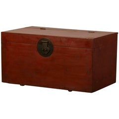 Large Antique Chinese Red Lacquer Trunk Kuang Hsu Period, circa 1875