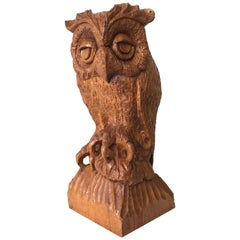 Sizable Mid-20th Century Carved Oak Owl, Rare and Symbol of Learning and Wisdom