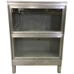 Industrial Glass Front Brushed Steel Barrister Bookcase