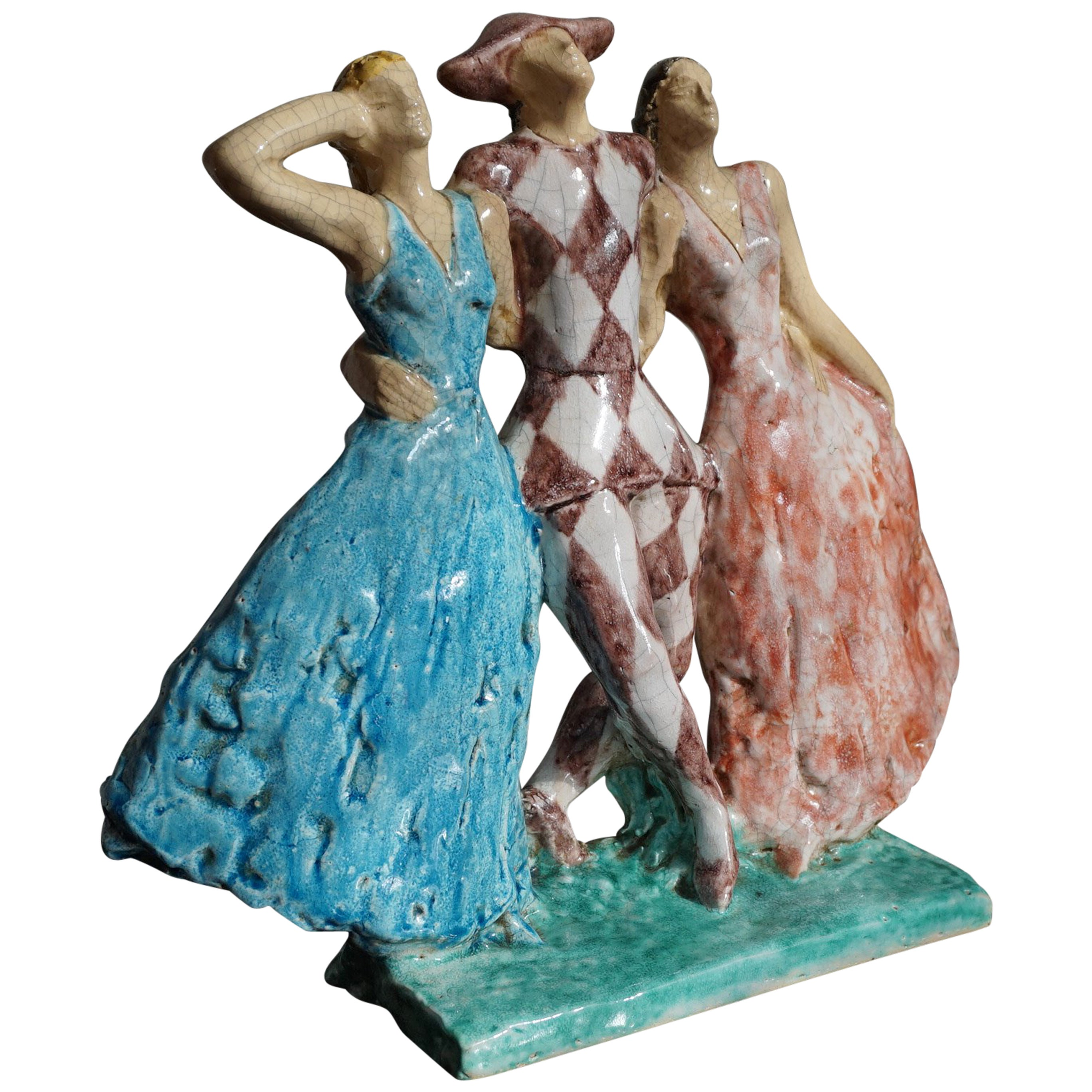 Rare French Art Deco Harlequin & Columbines Ceramic Sculpture by Edouard Cazaux