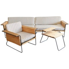 Rattan and Wrought Iron Seating Ensemble by Ritts Co., Los Angeles, circa 1955