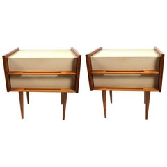 Pair of Edmund Spence Blonde and White Two-Drawer Nightstands