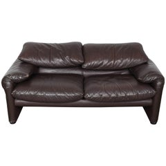 "Brown Leather Sofa ""Maralunga"" by Vico Magistretti with Adjustable Headrest"