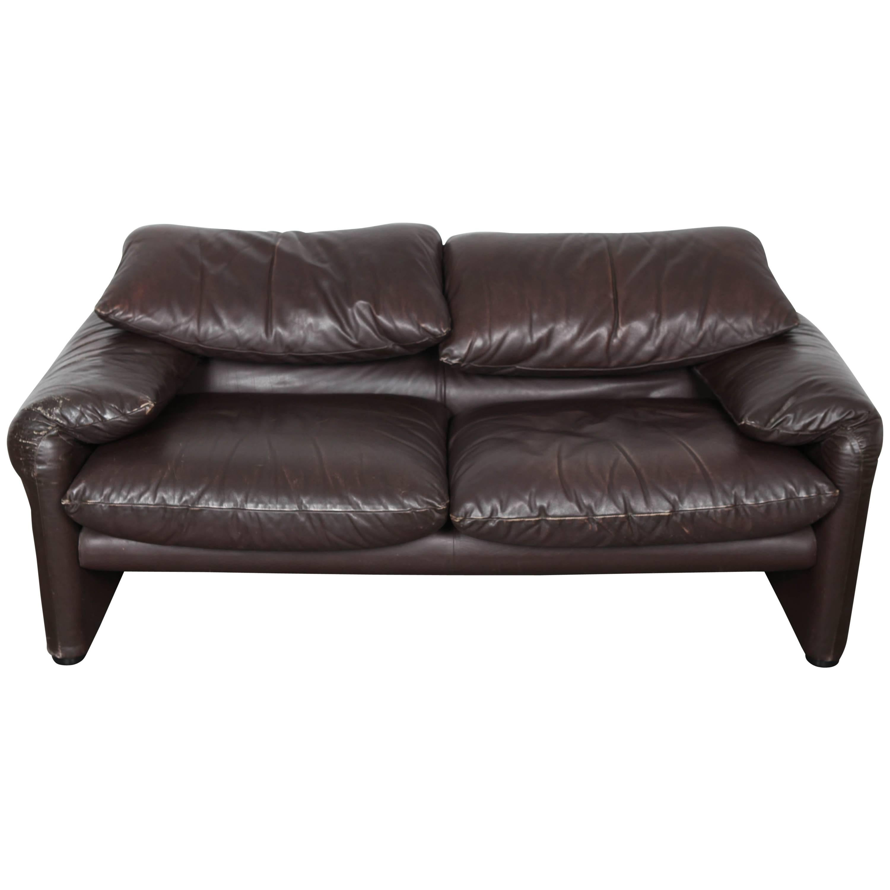 Brown Leather Sofa U0026quot;Maralungau0026quot; By Vico Magistretti With  Adjustable Headrest