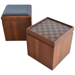 Pair of Walnut Checkerboard or Chess Game Cube Ottomans, circa 1965