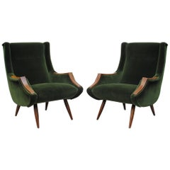 Pair of Emerald Green Marco Zanuso Style Lounge Chairs