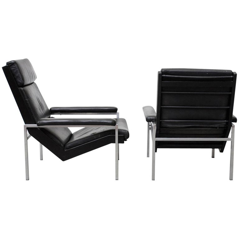 Pair of Black Leather His and Hers Robert Parry Lounge Chairs