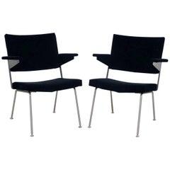 """Pair of """"Model 1445"""" Black Velvet Gispen Lounge Chairs"""