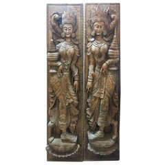 Pair of South East Asian Carved Hardwood Goddess Panels