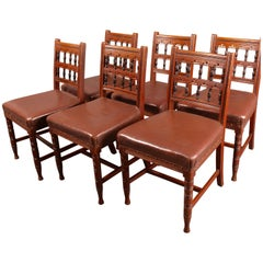 Set of Six Aesthetic Movement Oak Dining Chairs by Bruce Talbert for Gillows