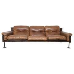 Brown Leather Three-Seat Sofa by Hannu Jyras, Finland
