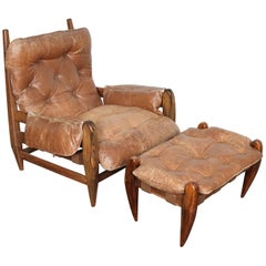 Brazilian Rosewood Lounge Chair and Ottoman by Jean Gillon
