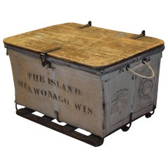 Storage Bin of Canvas with Wood Top, Wood and Steel Frame