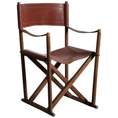 Early MK-16 Leather Campaign Chair by Mogens Koch