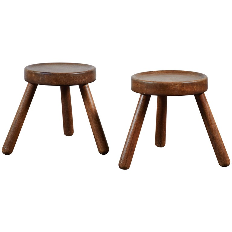 Pair of Wood Tripod Stools 1
